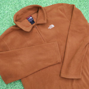 North Face Polartec Orange Fleece 1/4 Pullover XL